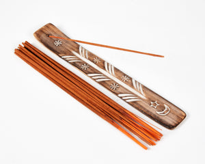 Moon & Stars Symbol Mango Wood Incense Holder / Incense Burner Ash Catcher + 20 Free Vegan Friendly Incense Sticks