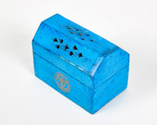 Load image into Gallery viewer, Turquoise Throat Chakra Incense Box, Incense Holder, Incense Burner, Ash Catcher + 12 Free Vegan Friendly Incense Cones