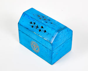 Turquoise Throat Chakra Incense Box, Incense Holder, Incense Burner, Ash Catcher + 12 Free Vegan Friendly Incense Cones