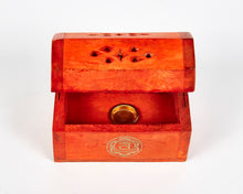 Load image into Gallery viewer, Orange Sacral Chakra Incense Box, Incense Holder, Incense Burner, Ash Catcher + 12 Free Vegan Friendly Incense Cones
