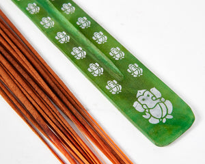 Green Ganesh Print Incense Holder image 2