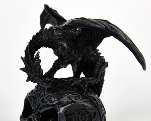 Decorative Dragon On Skull, Decor Ornament, Gothic, Biker, Halloween, Day of the Dead, Sculpture