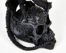 Load image into Gallery viewer, Decorative Dragon On Skull, Decor Ornament, Gothic, Biker, Halloween, Day of the Dead, Sculpture
