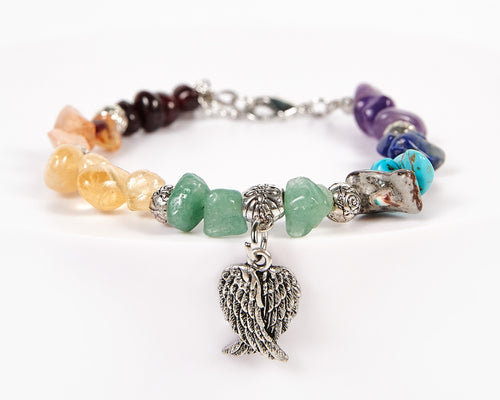 Double Wings Decorative Seven Chakras Bracelet image 1