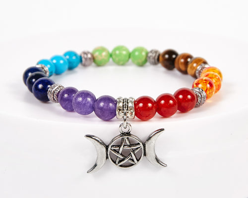 Triple Moon Decorative Seven Chakras Bracelet image 1