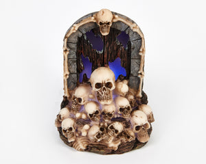 LED Blue Light Up Skull Door Halloween Ornament