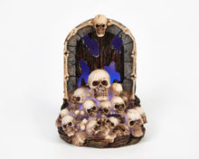 Load image into Gallery viewer, LED Blue Light Up Skull Door Halloween Ornament