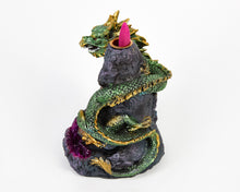 Load image into Gallery viewer, Green & Purple Dragon and Crystal LED Light Up Backflow Incense Burner image 4
