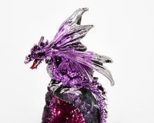 Load image into Gallery viewer, LED Light Up Purple Dragon On Crystal Cave Ornament, Decor, Dungeons & Dragons, Halloween, Sculpture