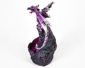 LED Light Up Purple Dragon On Crystal Cave Ornament, Decor, Dungeons & Dragons, Halloween, Sculpture