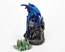 Load image into Gallery viewer, Blue Dragon On Castle Backflow Incense Burner, Back flow Holder. 12 Free Natural, Eco Friendly Vegan Backflow Incense Cones
