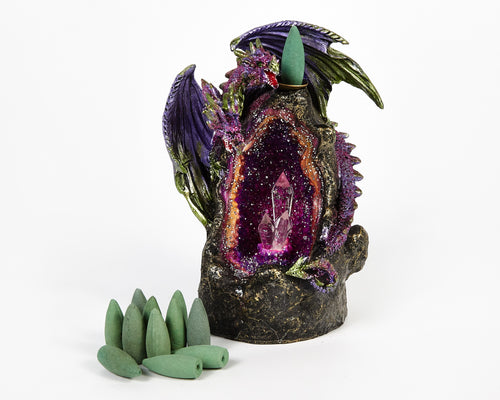 LED Light Up Purple Two Headed Dragon On Crystal Cave Backflow Incense Burner. 12 Free Natural, Eco Friendly Vegan Backflow Incense Cones