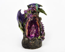 Load image into Gallery viewer, LED Light Up Purple Two Headed Dragon On Crystal Cave Backflow Incense Burner. 12 Free Natural, Eco Friendly Vegan Backflow Incense Cones