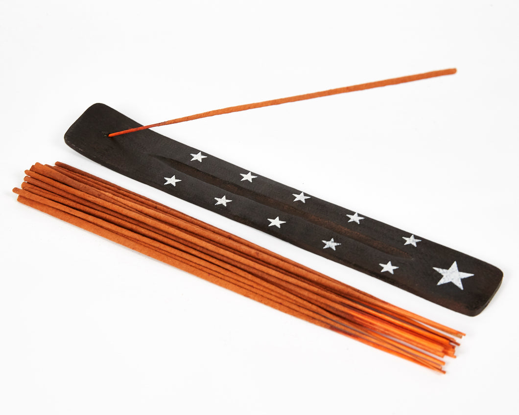 Star Symbol Black Mango Wood Incense Holder image 1