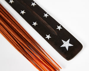 Star Symbol Black Mango Wood Incense Holder image 2