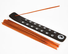 Load image into Gallery viewer, Yin & Yang Symbol Black Natural, Eco Friendly Mango Incense Holder / Incense Burner Ash Catcher With 20 Free Vegan Friendly Incense Sticks.