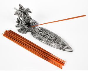Large Dragon Sword Incense Holder, Incense Burner, Ash Catcher + 20 Free Vegan Friendly Incense Sticks
