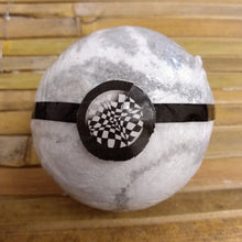 Load image into Gallery viewer, Black & White Geometric Pendant Necklace Bath Bomb with a Surprise Black & White Geometric Pendant Necklace Inside and a Black Wood Fragrance.