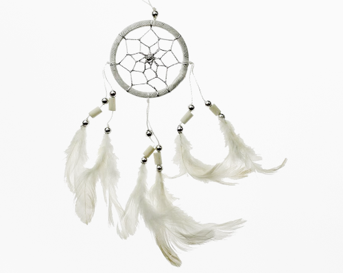 Dream Catcher With Bone Beads White 6cm