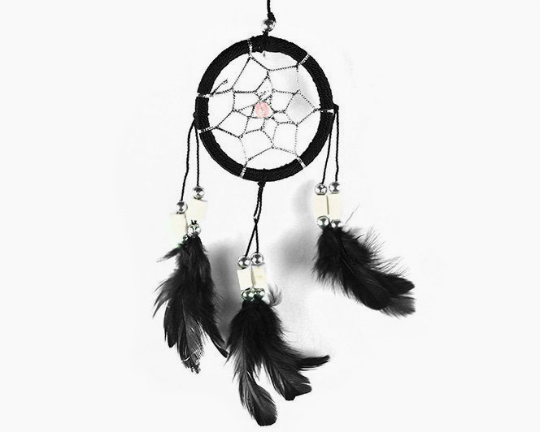 Dreamcatcher With Bone Beads Black 6cm