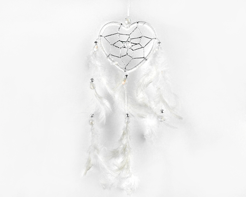 Heart Dream Catcher White