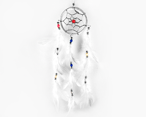 Dream Catcher With Three Line Beads White 6cm