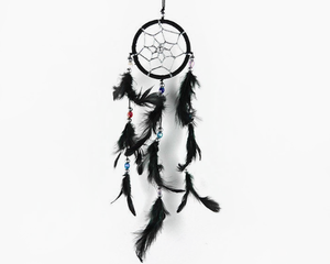 Dream Catcher With Three Line Beads Black 6cm