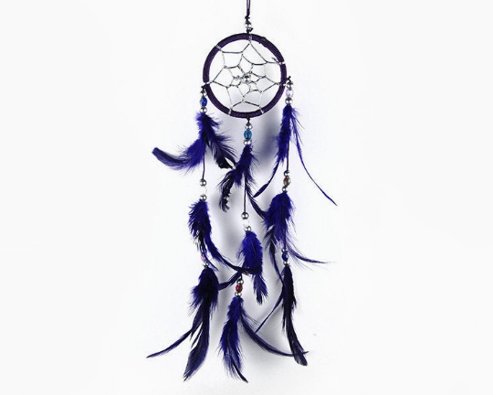 Dream Catcher With Three Line Beads Purple 6cm