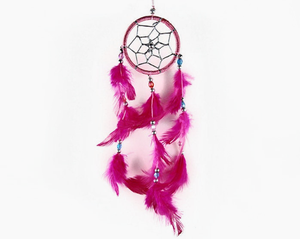 Dream Catcher With Three Line Beads Pink 6cm