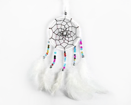 Dreamcatcher With Five Line Beads in White