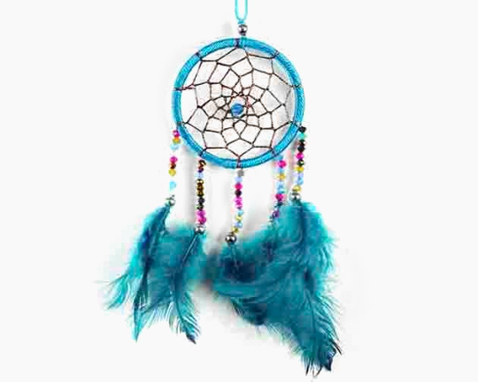 Dreamcatcher With Five Line Beads in Turquoise