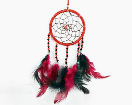 Dreamcatcher With Five Line Beads in Red