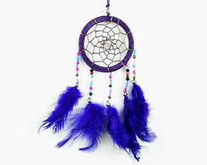 Dreamcatcher With Five Line Beads in Purple