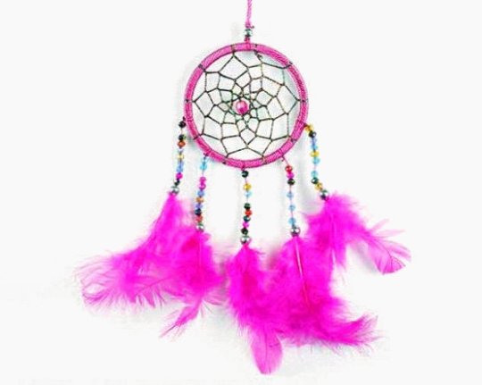 Dreamcatcher With Five Line Beads in Pink