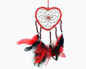 Dreamcatcher With Five Line Beads, Red Heart