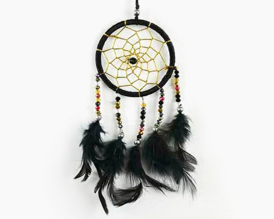 Dreamcatcher With Five Line Beads in Black