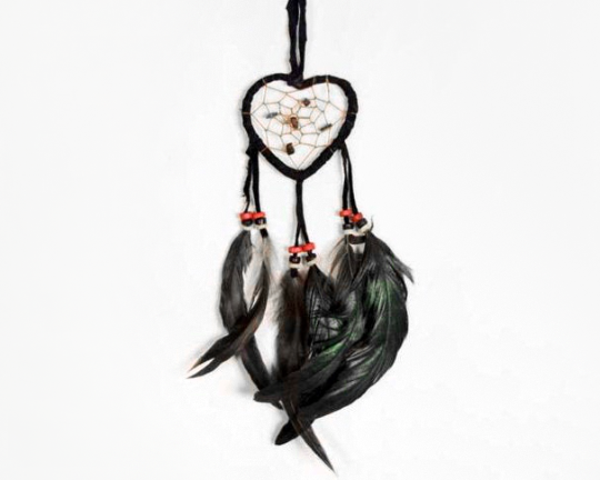 Heart Shaped Dream Catcher Black 6cm
