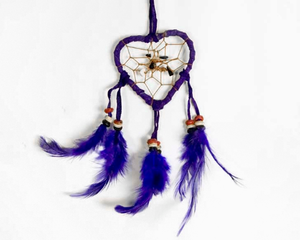 Heart Shaped Dream Catcher Purple 6cm