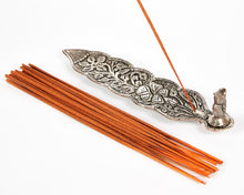 Load image into Gallery viewer, Silver Long Leaf With Owl Incense Holder image 5