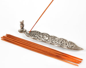 Silver Long Leaf With Owl Incense Holder image 4