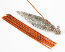 Load image into Gallery viewer, Silver Long Leaf With Ganesh Incense Holder image 5