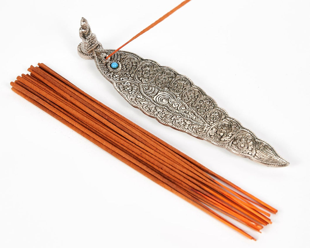 Silver Long Leaf With Sitting Buddha Incense Holder image 1