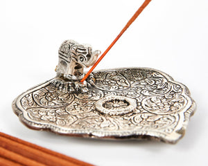 Silver Wide Leaf Plate With Elephant Incense Holder image 2