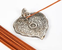 Load image into Gallery viewer, Silver Wide Leaf Plate With Elephant Incense Holder, Aluminium Incense Burner, Ash Catcher + 20 Free Vegan Friendly Incense Sticks