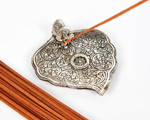 Silver Wide Leaf Plate With Elephant Incense Holder, Aluminium Incense Burner, Ash Catcher + 20 Free Vegan Friendly Incense Sticks