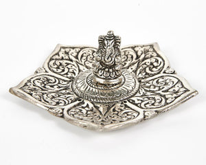 Ganesh Pointed Leaf Aluminium Incense Holder image 2