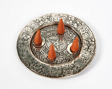 Load image into Gallery viewer, Triple Moon Round Plate 2 Hole Aluminium Incense Burner image 2