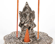 Load image into Gallery viewer, Ganesh Figurine Raised Plate 2 Hole Aluminium Incense Burner, Ash Catcher + 20 Free Vegan Friendly Incense Sticks
