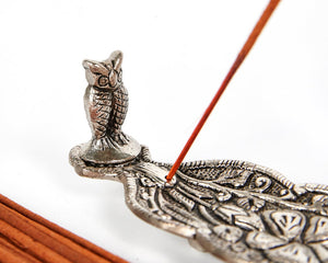 Silver Long Leaf With Owl Incense Holder image 2