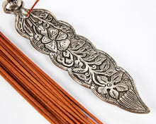 Load image into Gallery viewer, Silver Long Leaf With Owl Incense Holder image 3
